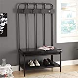 Pemberly Row Metal Hall Tree Entry Bench in Charcoal Gray