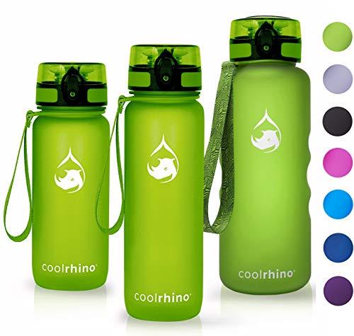coolrhino Trinkflasche 650ml / 1l / 1,5L für Sport, Outdoor, Schule, Fitness & Kinder - Wasserflasche auslaufsicher und Bpa frei - Flasche für Fahrrad (rhino yellow, 350ml)