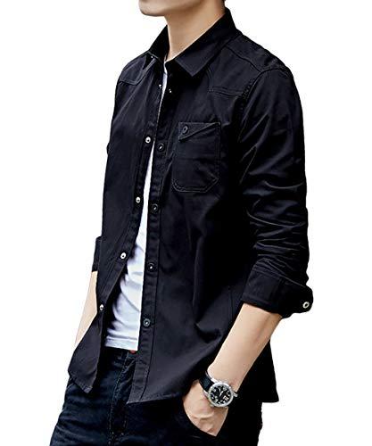 [meryueru(メリュエル)] ベーシック カラー シャツジャケット カジュアル コットン シャツ 春 秋 冬 大人 メンズの画像