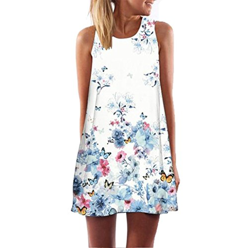 OVERDOSE Damen Chiffon Sommer A-Linie Minikleid Frauen Vintager Blumen Boho Sleeveless Strand...