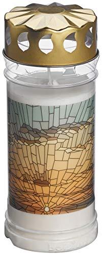 BOLSIUS - Lumino per tomba - Bruciatore permanente - Bianco - Nr5 - 6 pezzi - Con motivo - alba - Senza profumo