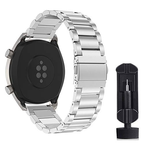 Cytech Cinturino per Samsung Gear S3 Classic/Frontier, Galaxy Watch 46mm, Huawei Watch GT 2 46mm, Huawei GT Sport/Active/Elegant/Classic, 22mm Cinturino in Acciaio Inossidabile (Argento)