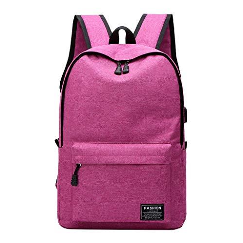 Rucksack Damen Herren, VECOLE Backpack Schultasche Business Campus Studententasche mit großer Kapazität Outdoor-Reisetasche Freizeit Mode infarbig Rucksack Mit USB-Schnittstelle(Pink)