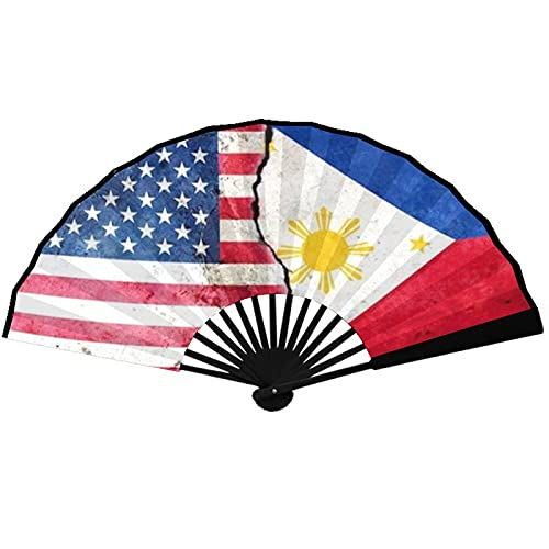 JAMES STRAIN Large Folding Hand Fan, Ladies/Men, Chinese Style/Japanese Style Bamboo Fan, Used for Festivals, Dances, Gifts, Performances, Decorations(Filipino America Flag)
