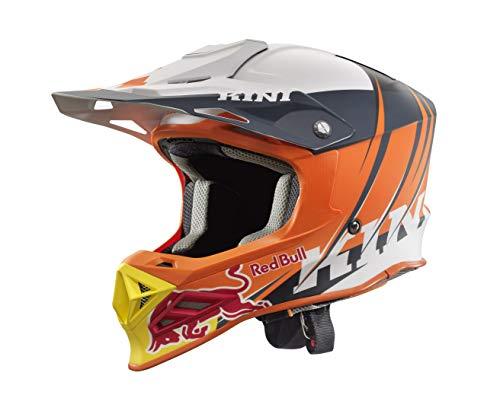 KINI Red Bull Competition Helmet V2.1 - Orange/White/Anthrazite - M – Motorcross Helm, Enduro, MTB, Off-Road, Neck-Brace Optimiert, EPS-Innnenschale, Waschbare Polster, CE geprüft