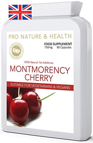 Montmorency Cherry Supplement | 750mg x 90 Capsules | 100% Natural | High Strength Cherry Extract with NO Additives | Suitable for Vegetarians & Vegans | UK Manufactured to GMP Standards