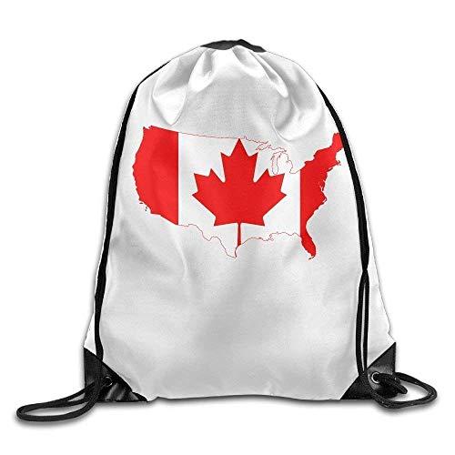 Etryrt Prämie Turnbeutel/Sportbeutel, Canada Flag Map Personalized Gym Drawstring Bags Travel Backpack Tote School Rucksack