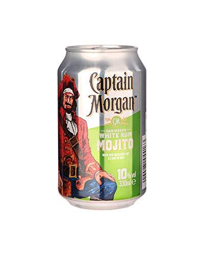 Captain Morgan White Rum Mojito Mixgetränk mit Weißem Rum, Limetten- und Minzgeschmack, EINWEG (12x 0.33 l)
