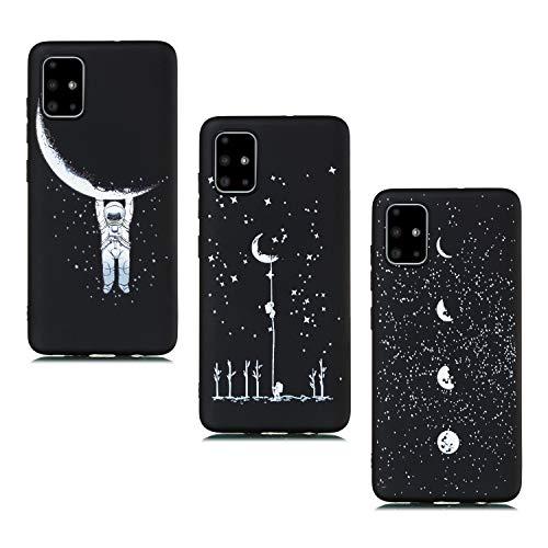 ChoosEU kompatibel mit 3 Hüllen Samsung Galaxy A51 Hülle Silikon Muster Schwarz Handyhülle für Mädchen Frau Mann, Dünn Silikonhülle Stoßfest Hülle Schutzhülle Soft - Astronaut, Starren, Mond