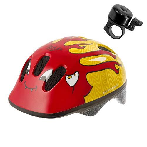 maxxi4you Aanbiedingsset / 1 x Ventura fietshelm fiets kinderhelm duiveltje maat S incl. 1 fietsbel.