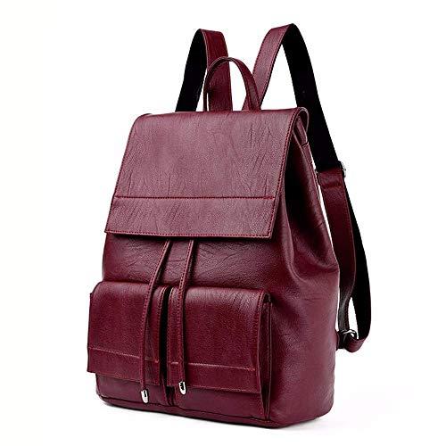 Thumby dames handtassen schoudertassen rugzak vrouwelijke zachte rugzak eenvoudige grote capaciteit vrouwelijke reis-rugzak wijnrood rood (rode wijn)