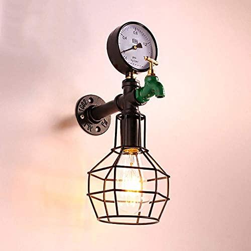 WEM Lámparas de pared, lámpara de pared de jaula de alambre de metal rústico, lámpara de pared de tubería de agua vintage, lámparas de pared industriales rústicas para sala de estar, cabecera, comedo