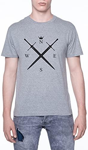 Rey Es En los Norte Espada Cruzado Camiseta De Los Hombres Manga Corta Gris T-Shirt Men Grey tee L