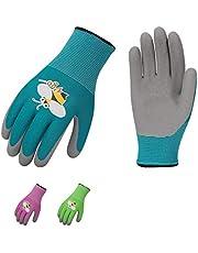 Vgo 3 Paare, Kinder, Garten- und Arbeitshandschuhe mit Schaumlatex/Gummibeschichtung (Violett & Grün & Blau mit Bieneprint, KID-RB6013)