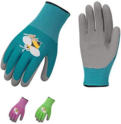 Vgo 3 Pairs Age 3 5 Kids Latex Gardening Gloves Work Gloves XXXS KID RB6013 product image