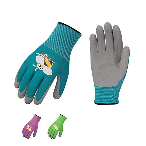 Vgo 3Pairs Age 5-7 Kids Gardening Gloves, Foam Rubber Coated Garden and Work Gloves (Size 5/XXS, Blue & Green & Pink, KID-RB6013)