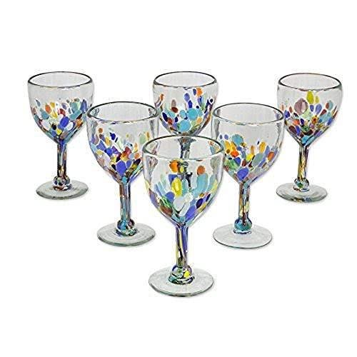NOVICA Hand Blown Multicolor Recycled Glass Wine Glasses, 8 Oz. 'Confetti Festival' (Set Of 6)