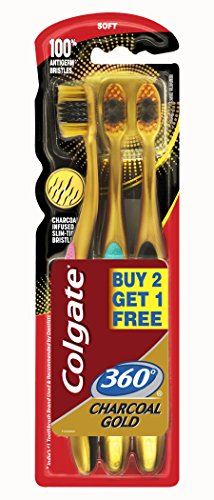 Colgate Toothbrush 360 Extra Soft Gold Charcoal Toothbrush Pack Of 3