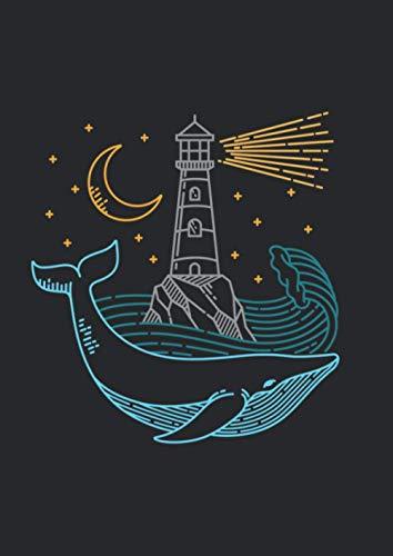 Notizbuch A4 dotted, gepunktet, punktiert mit Softcover Design: Wal mit Leuchtturm Nacht mit Mond und Mondschein am Meer: 120 dotted (Punktgitter) DIN A4 Seiten