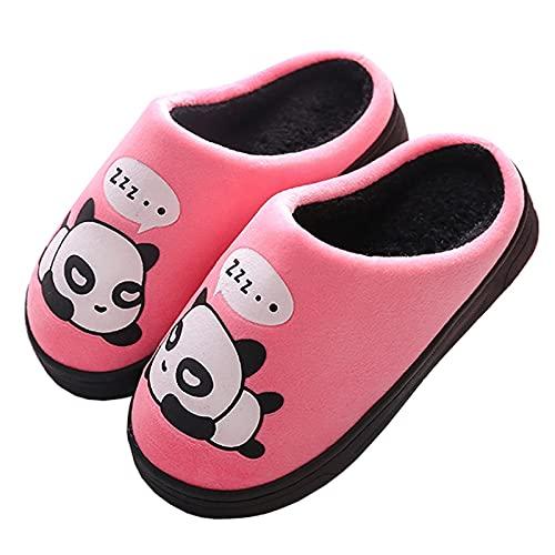 Zapatillas de Estar por Casa para Niñas Niños Otoño Invierno Zapatillas Mujer Hombres Interior Caliente Suave Dibujos Animados Panda Zapatos Rosa 29/30 EU = 30/31 CN