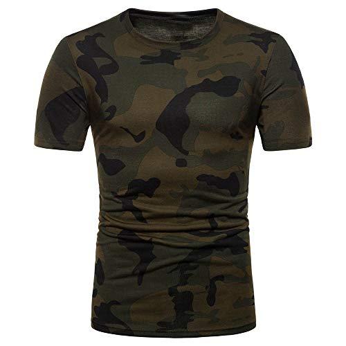 Herren T-Shirt Camouflage Shirts Fitness Oversize Basic Kurzarm Fitness Businesshemd Training Muskel Shirt Elastisches O-Neck Streetwear Kurzarmshirt Casual Slim Fit Tops