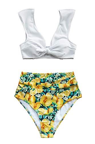 CuPSHE - Bikini para mujer, bikini Bralette de cintura alta, bikini de dos piezas