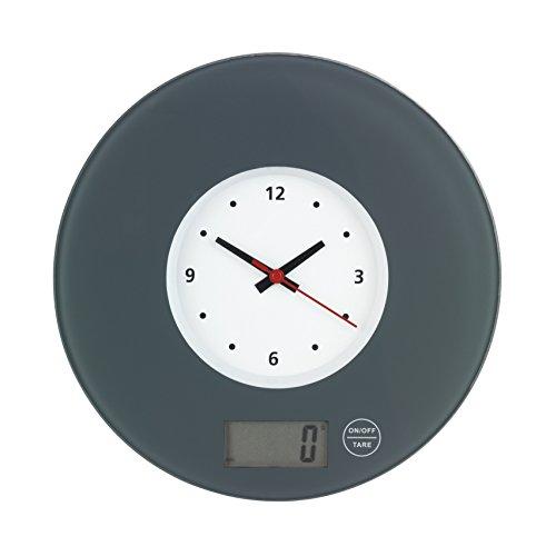 WENKO Küchenwaage Time mit Uhr Grau - elektronische Digitalwaage mit Sensor-Tastatur und Tara-Funktion, Gehärtetes Glas, 19 x 2.5 x 19 cm, Grau
