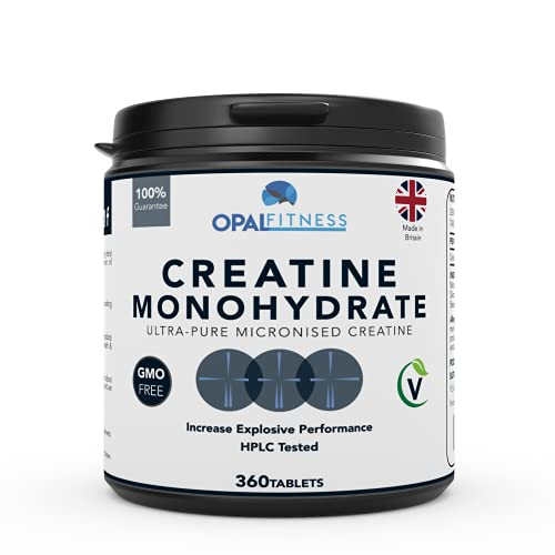 Creatine Monohydrate Tablets by OPAL Fitness - Micronised, Easy To Swallow Tablets - Scientifically Proven To Increase Muscle Strength, High Intensity Explosive Energy, and Build Lean Muscle Mass