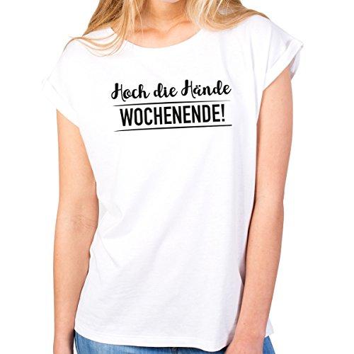 JUNIWORDS Damen T-Shirt Rolled up Sleeves - Hoch die Hände Wochenende! - Wähle Größe & Farbe - Größe: M - Farbe: Weiß