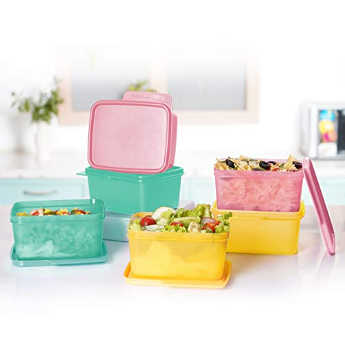 Tupperware. Plastic Square Refrigerator Container Keep Tab 500Ml 6Pc, Pink, Green, Yellow