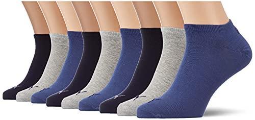 Puma - PUMA UNISEX SNEAKER PLAIN 3P -Lot de 3 - Chaussettes de sport - Homme - Gris (Navy/Grey/Night Shadow Blue 532) - 43-46