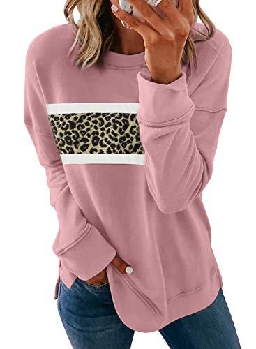 CORAFRITZ Damen-Pullover, Rundhalsausschnitt, Leopardenmuster, langärmelig,...
