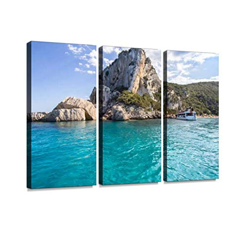 HABEN ARTWORK spiaggia di cala Luna Sardinia Italy Moon Bay Pictures Print On Canvas Wall Artwork Modern Photography Home Decor Unique Pattern Stretched and Framed 3 Piece