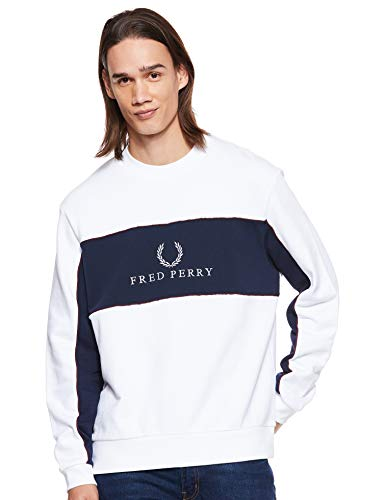 Fred Perry Herren M4553-panel Piped Sweatshirt-100-xl Kapuzenpullover, Weiß (White 100), X-Large