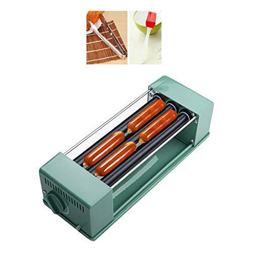 XINGLEI Hot Dog Roller Grill Hot Dog Machine Rouleaux en Acier Inoxydable Bouton indépendant Double Contrôle de la température Parfaite for Le Petit déjeuner Saucisses, 3-Roller (Color : Green 1)