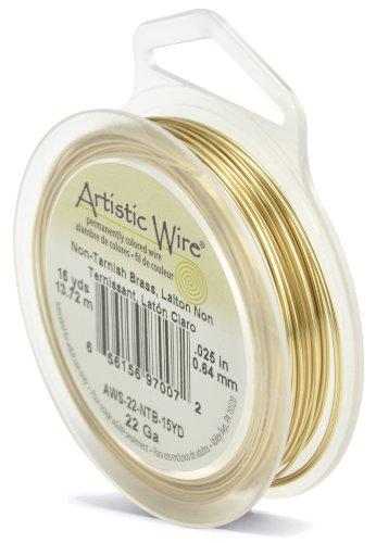 Artistic Wire, 22 Gauge, Tarnish Resistant, 15 yd (13.7 m) Craft Wire, NT Brass