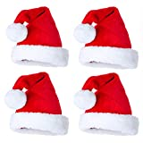 4 Pack Christmas Santa Hats for Adult, Xmas Holiday Hat for Kids, Unisex Velvet Comfort Christmas Hats, Christmas Costume Classic Hat for Christmas New Year Festive Holiday Party Supplies