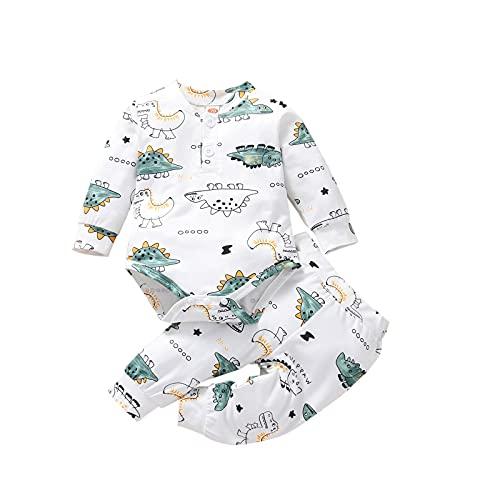 Conjunto de mameluco con estampado de dinosaurios de dibujos animados y pantalones largos, blanco, 6 mes