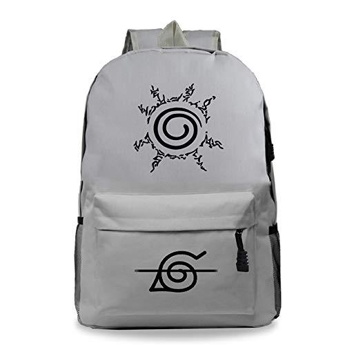 M.YAN Naruto Anime Mochila Unisex Multiusos Bolsa Bandolera Impermeable Mochilas Portátil Bolso Escuela Gran Capacidad Mochila Hombro Backpack Escolar Trabajo Diario Viaje Daypacks Gris