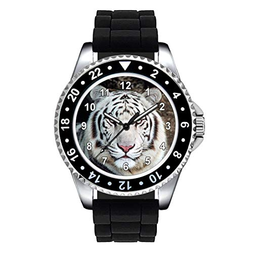 Timest - Tigre Blanco - Unisex Reloj con Correa de Silicona Negro Analógico Cuarzo SE0972SB