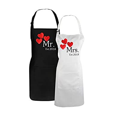 Fodiyaer Mr. and Mrs. 2018 Couples Aprons Embroidered Kitchen Aprons Set Bride and Groom Gifts for Wedding Idea Matching Couple Gifts Set - Engagement Gifts