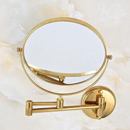 Hermanhao Accesorios de baño de hotel de lujo de latón dorado 8 brazo colgante de pared 2 lados lupa aba632