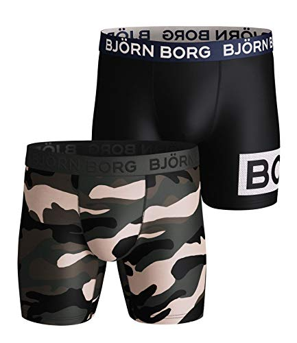 Bjorn Borg Boxershorts voor heren, 2 stuks, vreedzaam olijf, multi, M