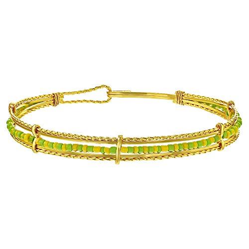 In Season Jewelry - Chapado en Oro 14k Verde y Amarillo Orula Brazalete de Santería Pulsera para Mujeres
