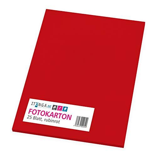 itenga Fotokarton 25 Blatt A4 300 g/qm - Tonpapier Tonkarton Druckerpapier Bastelpapier Bogen durchgefärbt zum kreativen Gestalten und Basteln (Rubinrot)