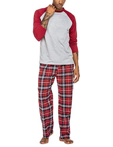 ADOME Herren Schlafanzug Lang Zweiteiliger Weicher Warmer Pyjama Set Rundhals T-Shirt und Karierte Hose, Weinrot, Size m