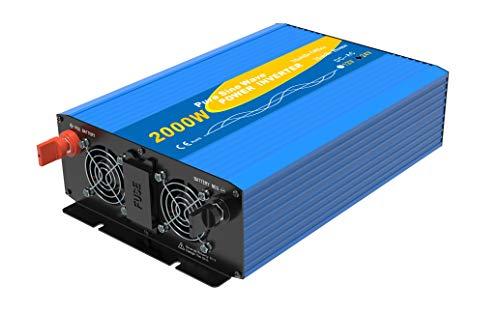 Spannungswandler 2000W /Spitzenleistung 4000W für 24VDC auf 230VAC Inverter Stromwandler mit 2 AC-Steckdosen+LCD