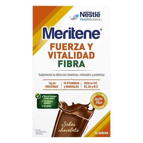 Meritene® Fuerza y Vitalidad Fibra - Formato Polvo - Chocolate - 14 sobres de 35 g - Suplementa tu nutrición y refuerza tu sistema inmune con vitaminas, minerales y proteínas