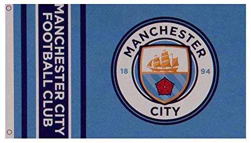 Manchester City Football Club Official Striped Large Flag Big Crest Game Fan Banner