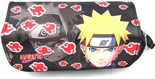 CYSJ Naruto Shippuden Estuche con Cremallera y Bolsa de Lápices de Colores de Impresión, Caja Case con Cremallera de Escolar, Lápiz de Gran Capacidad Bolsas